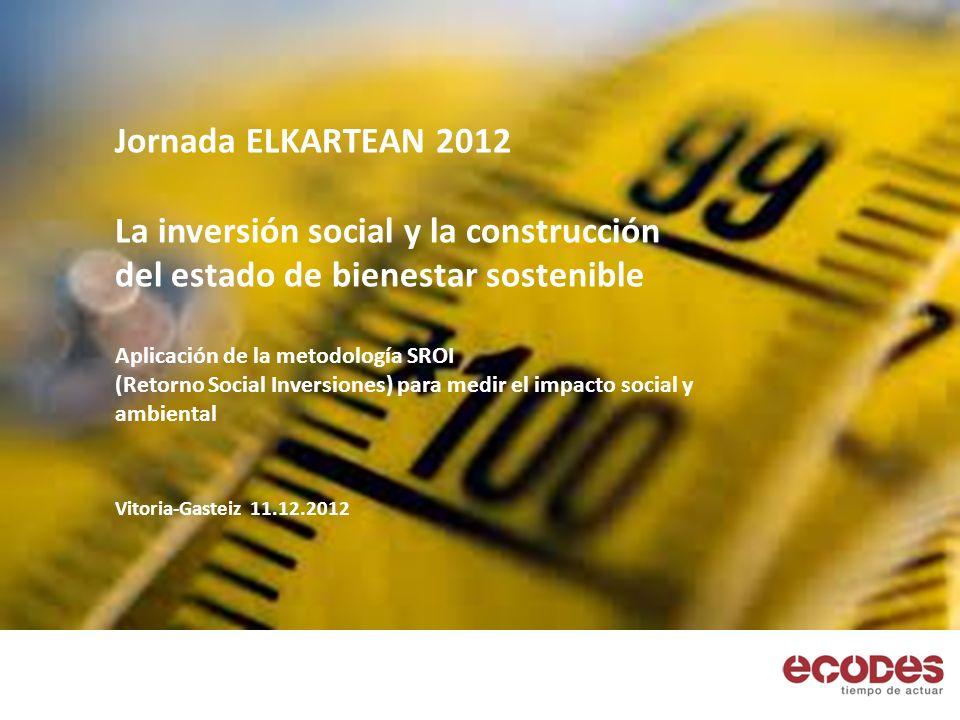 Jornada ELKARTEAN 2012 La inversión social y la construcción del estado de bienestar sostenible Aplicación de la metodología SROI (Retorno Social Inversiones) para medir el impacto social y ambiental Vitoria-Gasteiz 11.12.2012