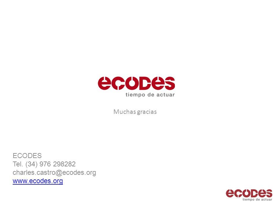 Muchas gracias ECODES Tel. (34) 976 298282 charles.castro@ecodes.org www.ecodes.org www.ecodes.org