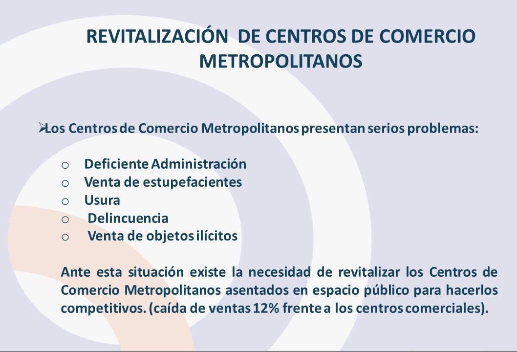 REVITALIZACIÓN DE CENTROS DE COMERCIO METROPOLITANOS Los Centros de Comercio Metropolitanos presentan serios problemas: o Deficiente Administración o