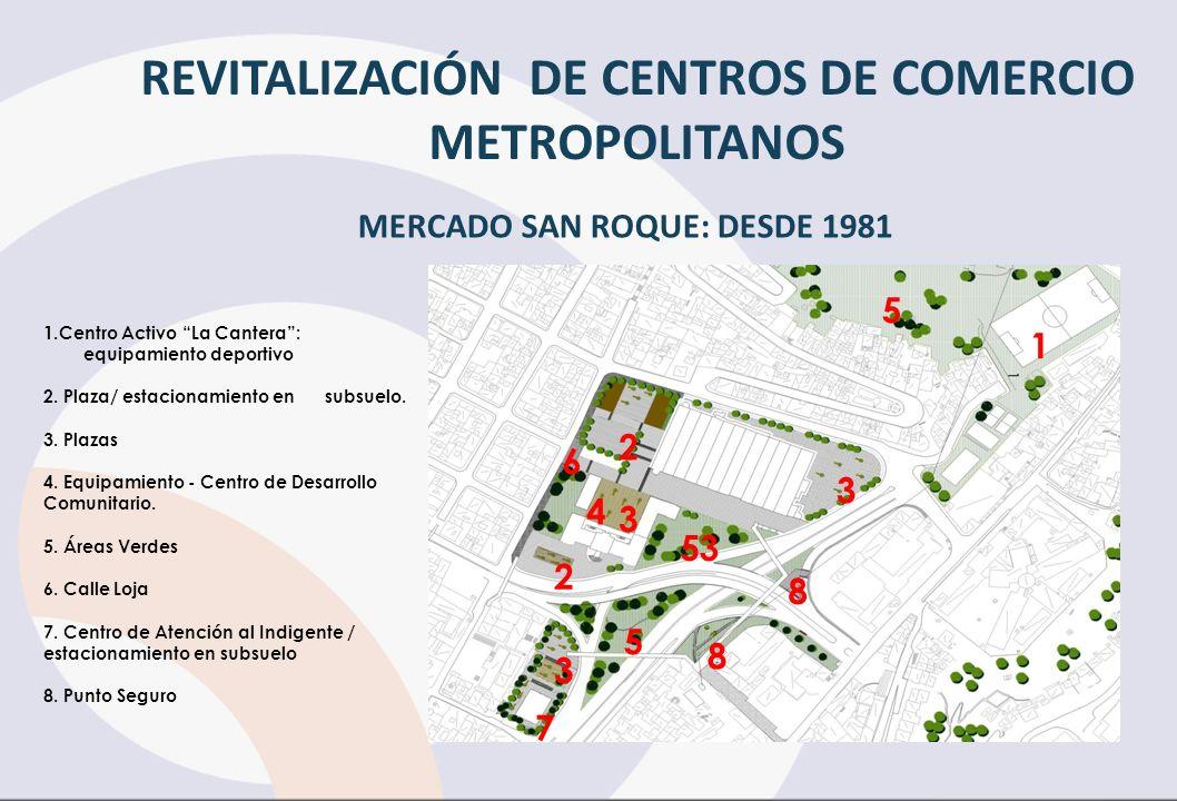 1.Centro Activo La Cantera: equipamiento deportivo 2. Plaza/ estacionamiento en subsuelo. 3. Plazas 4. Equipamiento - Centro de Desarrollo Comunitario