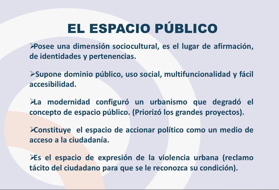 EL ESPACIO PÚBLICO Posee una dimensión sociocultural, es el lugar de afirmación, de identidades y pertenencias. Supone dominio público, uso social, mu