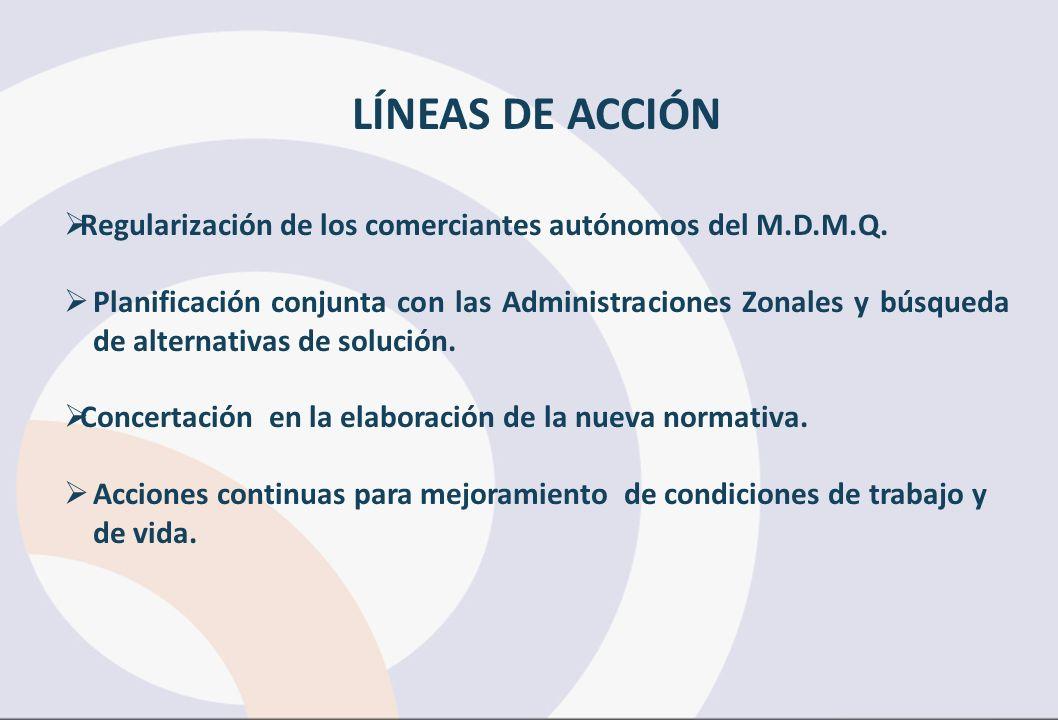 LÍNEAS DE ACCIÓN Regularización de los comerciantes autónomos del M.D.M.Q. Planificación conjunta con las Administraciones Zonales y búsqueda de alter