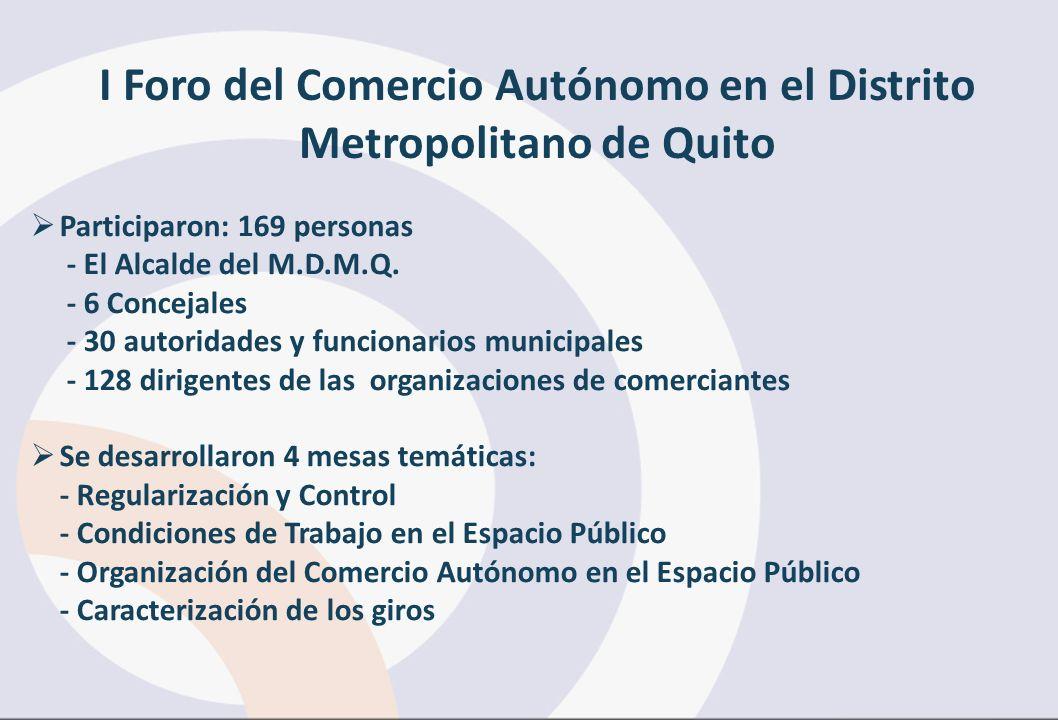 I Foro del Comercio Autónomo en el Distrito Metropolitano de Quito Participaron: 169 personas - El Alcalde del M.D.M.Q. - 6 Concejales - 30 autoridade