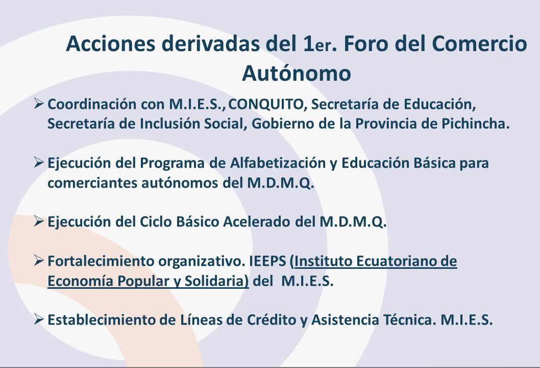 Coordinación con M.I.E.S., CONQUITO, Secretaría de Educación, Secretaría de Inclusión Social, Gobierno de la Provincia de Pichincha. Ejecución del Pro