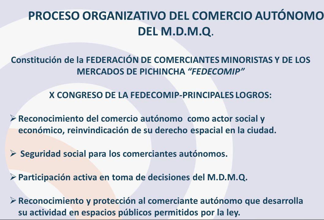 Constitución de la FEDERACIÓN DE COMERCIANTES MINORISTAS Y DE LOS MERCADOS DE PICHINCHA FEDECOMIP X CONGRESO DE LA FEDECOMIP-PRINCIPALES LOGROS: Recon
