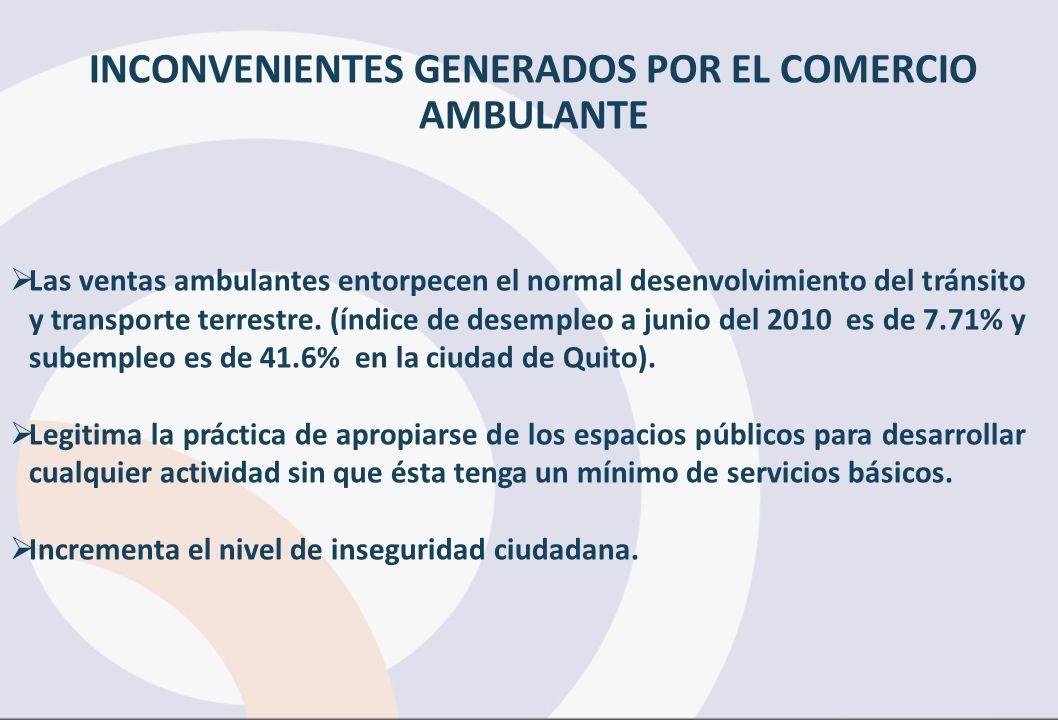 INCONVENIENTES GENERADOS POR EL COMERCIO AMBULANTE Las ventas ambulantes entorpecen el normal desenvolvimiento del tránsito y transporte terrestre. (í