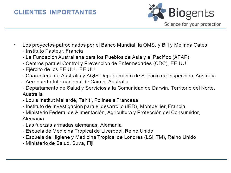 CLIENTES IMPORTANTES Los proyectos patrocinados por el Banco Mundial, la OMS, y Bill y Melinda Gates - Instituto Pasteur, Francia - La Fundación Austr