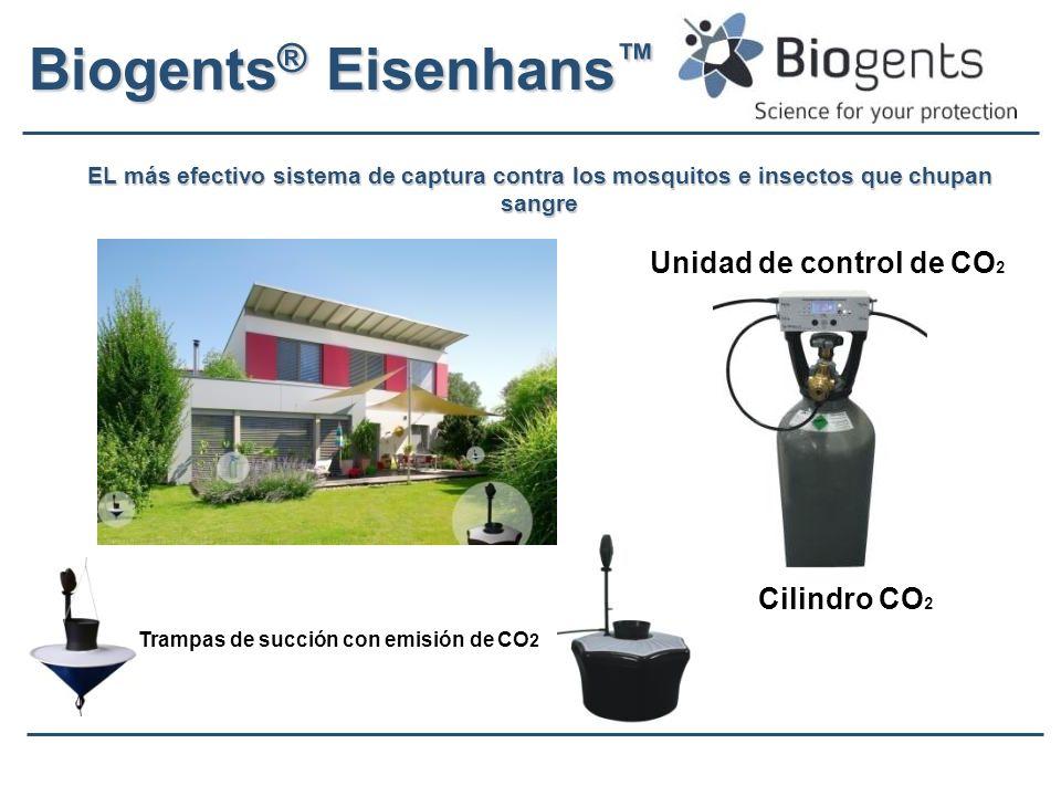 Biogents ® Eisenhans Biogents ® Eisenhans EL más efectivo sistema de captura contra los mosquitos e insectos que chupan sangre Cilindro CO 2 Unidad de control de CO 2 Trampas de succión con emisión de CO 2