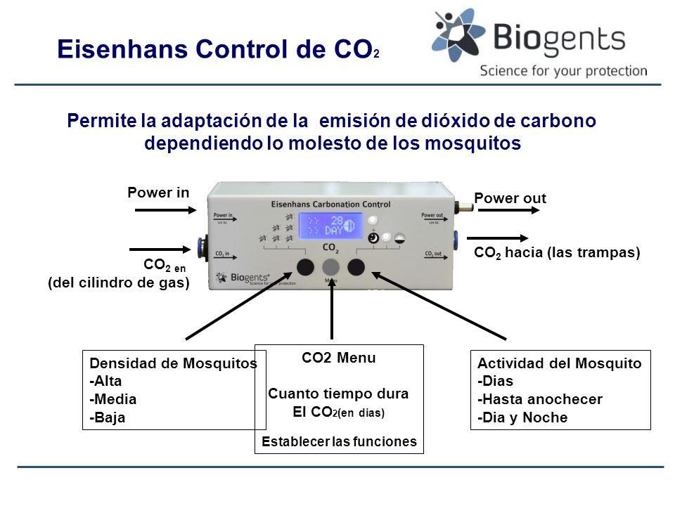Power in CO 2 en (del cilindro de gas) Densidad de Mosquitos -Alta -Media -Baja CO2 Menu Cuanto tiempo dura El CO 2 (en dias) Establecer las funciones Actividad del Mosquito -Dias -Hasta anochecer -Dia y Noche Power out CO 2 hacia (las trampas) Permite la adaptación de la emisión de dióxido de carbono dependiendo lo molesto de los mosquitos Eisenhans Control de CO 2