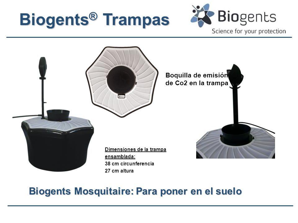 Biogents ® Trampas Biogents Mosquitaire: Para poner en el suelo Dimensiones de la trampa ensamblada: 38 cm circunferencia 27 cm altura Boquilla de emi