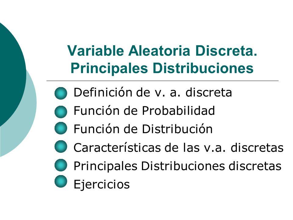 Variable Aleatoria Discreta.Principales Distribuciones Definición de v.