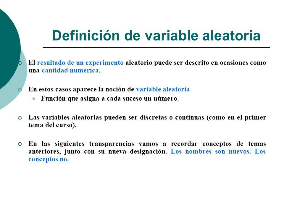 Definición de variable aleatoria El resultado de un experimento aleatorio puede ser descrito en ocasiones como una cantidad numérica.