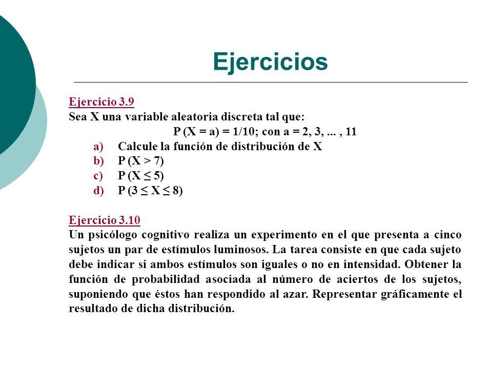 Ejercicios Ejercicio 3.9 Sea X una variable aleatoria discreta tal que: P (X = a) = 1/10; con a = 2, 3,..., 11 a)Calcule la función de distribución de X b)P (X > 7) c)P (X 5) d)P (3 X 8) Ejercicio 3.10 Un psicólogo cognitivo realiza un experimento en el que presenta a cinco sujetos un par de estímulos luminosos.