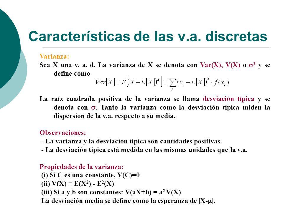 Características de las v.a.discretas Varianza: Sea X una v.
