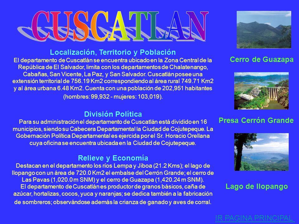 . Localización, Territorio y Población El departamento de Chalatenango se encuentra ubicado en la zona Central de la República de El Salvador, limita