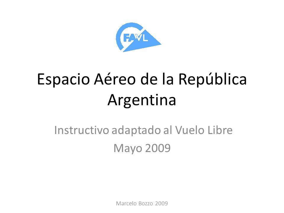 Espacio Aéreo de la República Argentina Instructivo adaptado al Vuelo Libre Mayo 2009 Marcelo Bozzo 2009