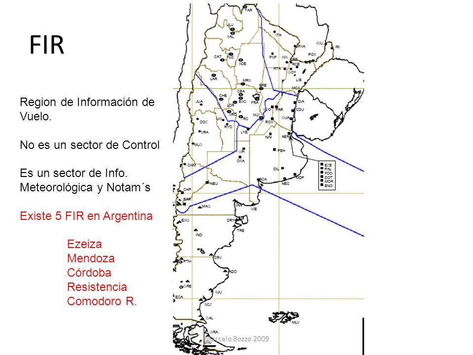 FIR Region de Información de Vuelo. No es un sector de Control Es un sector de Info. Meteorológica y Notam´s Existe 5 FIR en Argentina Ezeiza Mendoza