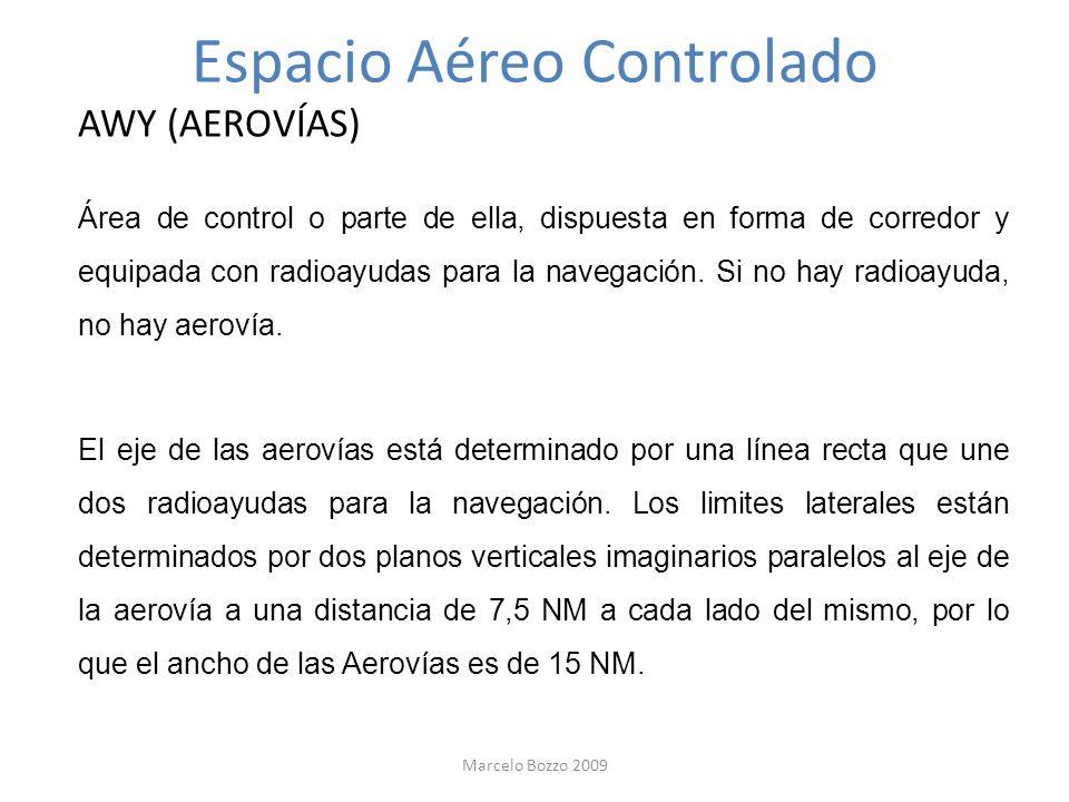 Espacio Aéreo Controlado AWY (AEROVÍAS) Área de control o parte de ella, dispuesta en forma de corredor y equipada con radioayudas para la navegación.