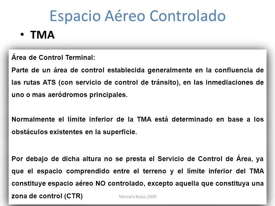 Espacio Aéreo Controlado TMA Área de Control Terminal: Parte de un área de control establecida generalmente en la confluencia de las rutas ATS (con se