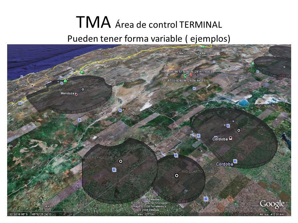 TMA Área de control TERMINAL Pueden tener forma variable ( ejemplos) Marcelo Bozzo 2009