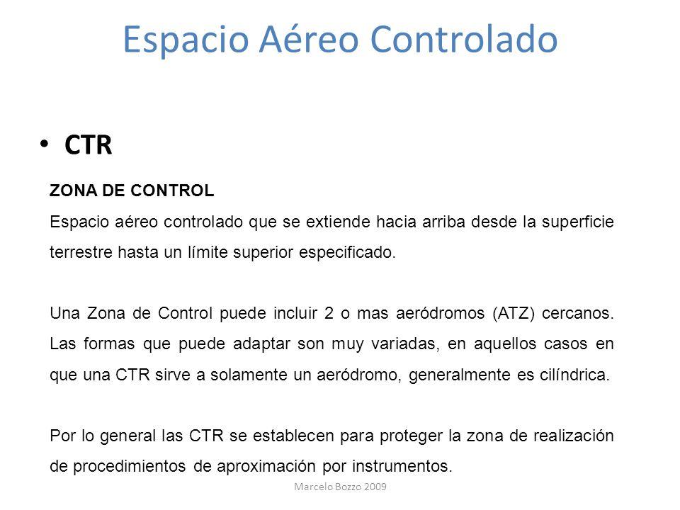Espacio Aéreo Controlado CTR ZONA DE CONTROL Espacio aéreo controlado que se extiende hacia arriba desde la superficie terrestre hasta un límite super