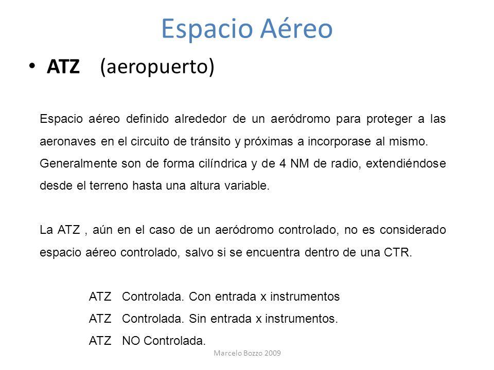 Espacio Aéreo ATZ (aeropuerto) Espacio aéreo definido alrededor de un aeródromo para proteger a las aeronaves en el circuito de tránsito y próximas a