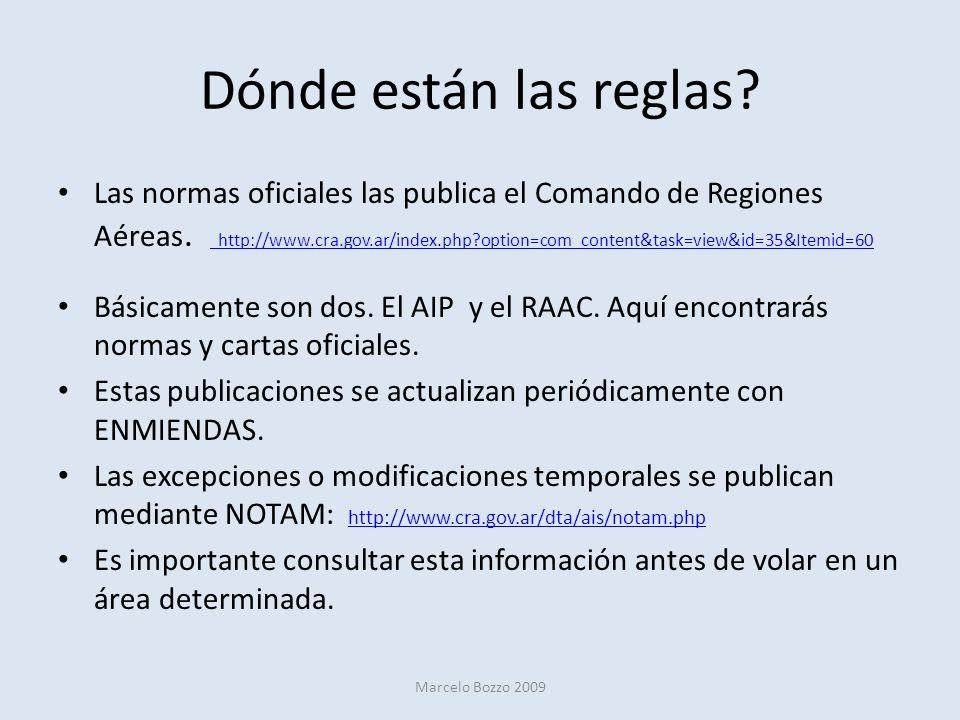 Dónde están las reglas? Las normas oficiales las publica el Comando de Regiones Aéreas. http://www.cra.gov.ar/index.php?option=com_content&task=view&i