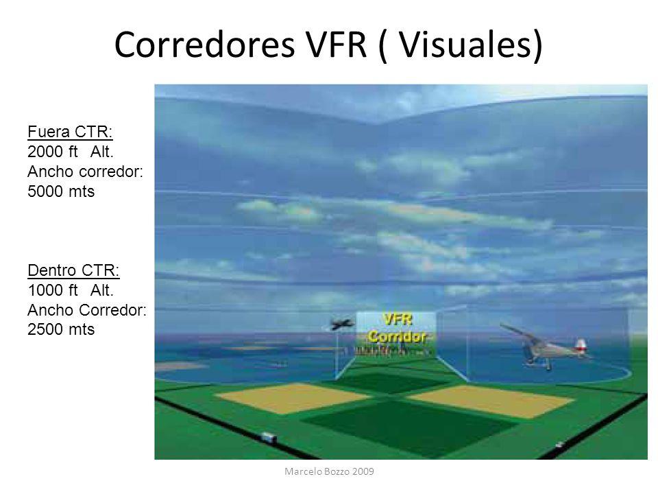 Corredores VFR ( Visuales) Fuera CTR: 2000 ft Alt. Ancho corredor: 5000 mts Dentro CTR: 1000 ft Alt. Ancho Corredor: 2500 mts Marcelo Bozzo 2009