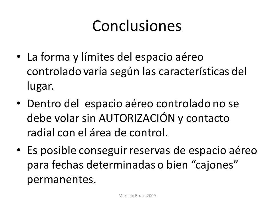 Conclusiones La forma y límites del espacio aéreo controlado varía según las características del lugar. Dentro del espacio aéreo controlado no se debe