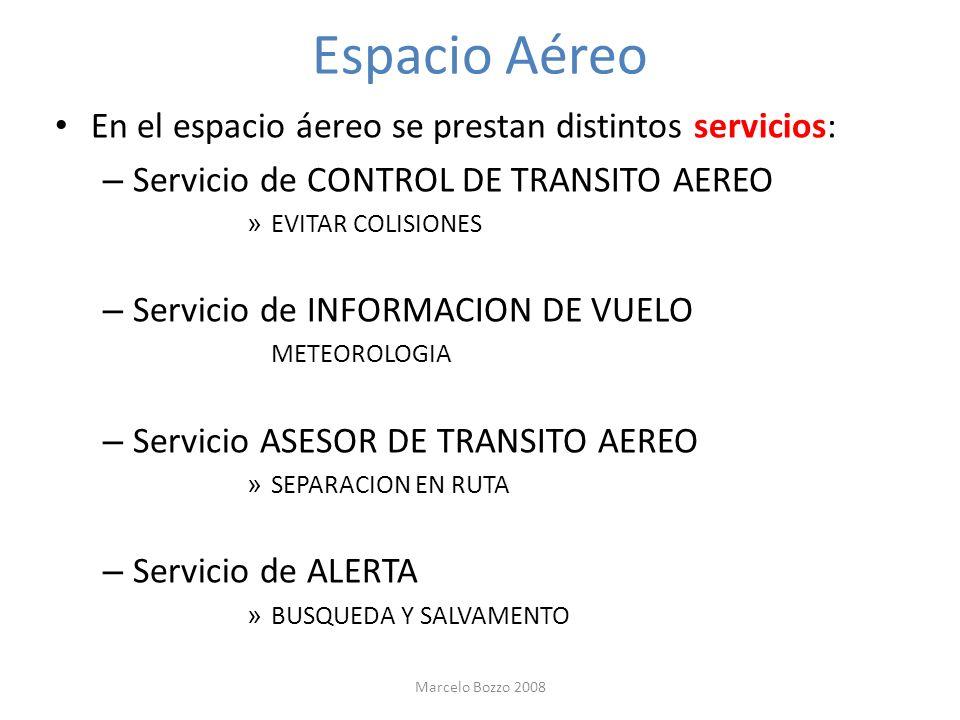 Espacio Aéreo En el espacio áereo se prestan distintos servicios: – Servicio de CONTROL DE TRANSITO AEREO » EVITAR COLISIONES – Servicio de INFORMACIO