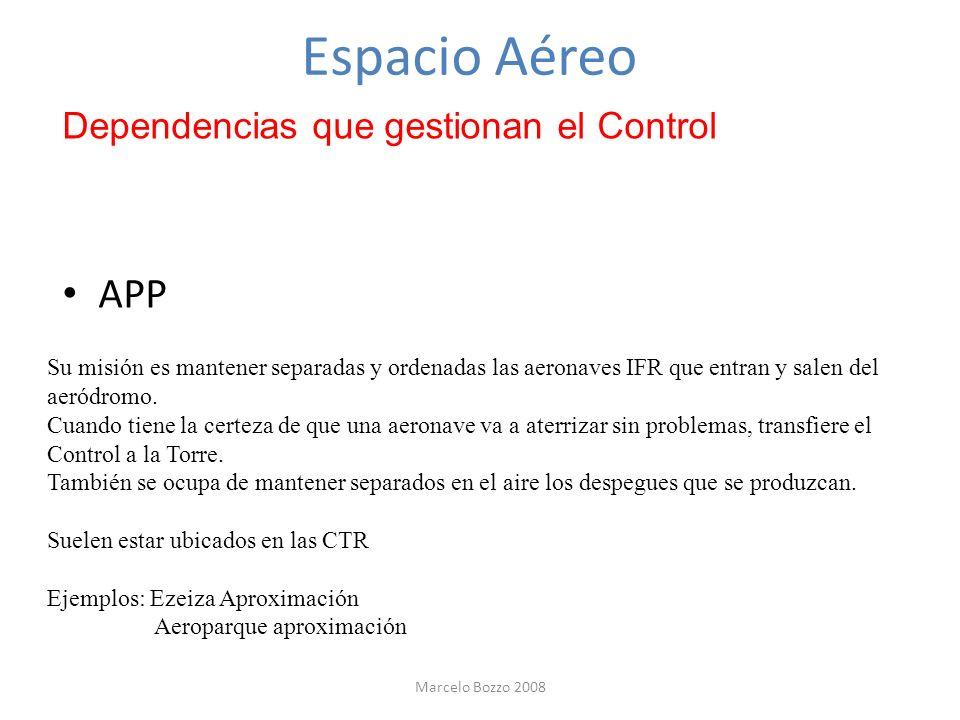 Espacio Aéreo Dependencias que gestionan el Control APP Su misión es mantener separadas y ordenadas las aeronaves IFR que entran y salen del aeródromo