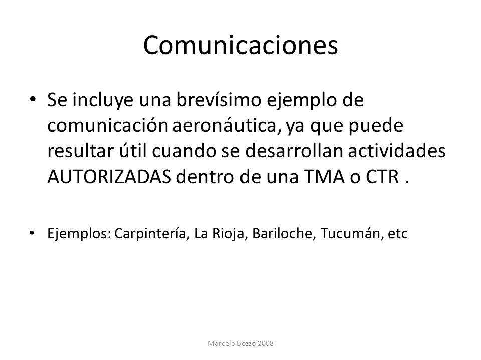 Comunicaciones Se incluye una brevísimo ejemplo de comunicación aeronáutica, ya que puede resultar útil cuando se desarrollan actividades AUTORIZADAS
