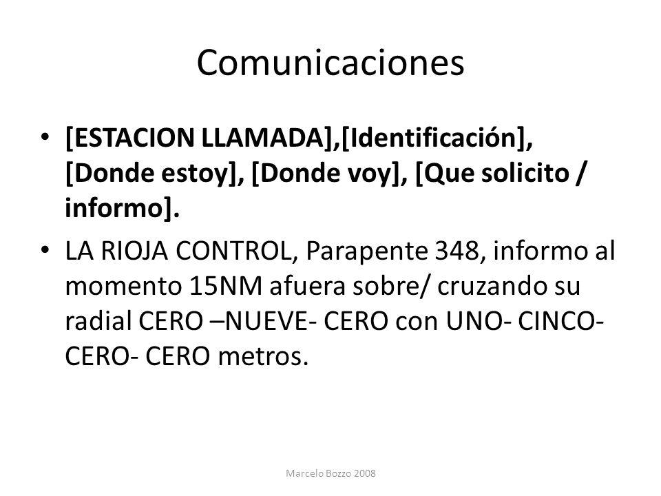 Comunicaciones [ESTACION LLAMADA],[Identificación], [Donde estoy], [Donde voy], [Que solicito / informo]. LA RIOJA CONTROL, Parapente 348, informo al