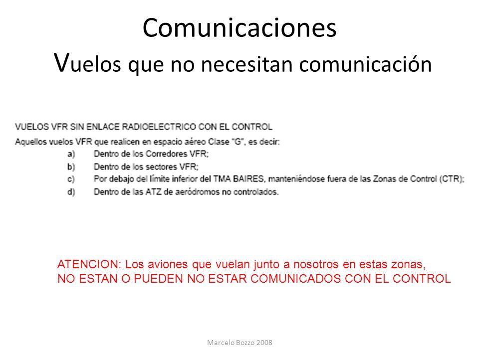 Comunicaciones V uelos que no necesitan comunicación ATENCION: Los aviones que vuelan junto a nosotros en estas zonas, NO ESTAN O PUEDEN NO ESTAR COMU