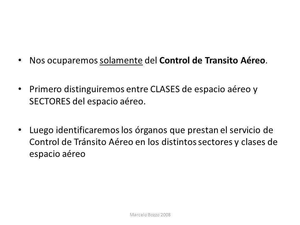 Nos ocuparemos solamente del Control de Transito Aéreo. Primero distinguiremos entre CLASES de espacio aéreo y SECTORES del espacio aéreo. Luego ident