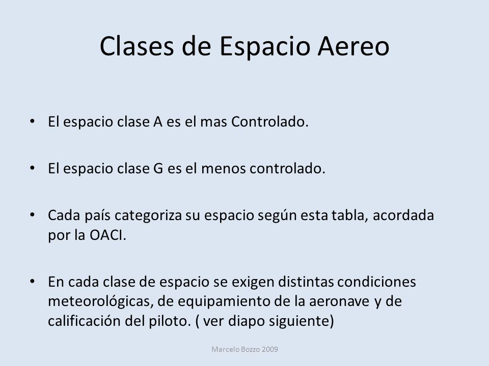 Clases de Espacio Aereo El espacio clase A es el mas Controlado. El espacio clase G es el menos controlado. Cada país categoriza su espacio según esta