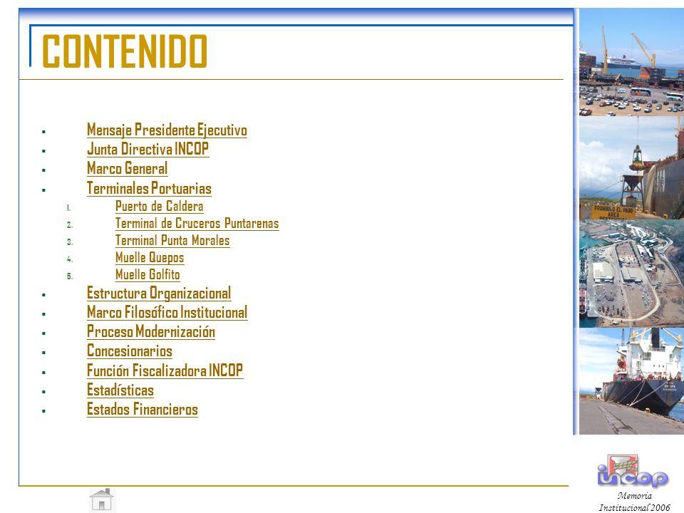 Memoria Institucional 2006 Proceso de Modernización Mediante la modalidad de la gestión de servicios públicos se llamó a concurso licitatorio para el manejo de los servicios portuarios en las Terminales de Puntarenas (atención a cruceros) y Caldera (carga general y contenedores), como de los servicios de remolcadores para toda la vertiente.