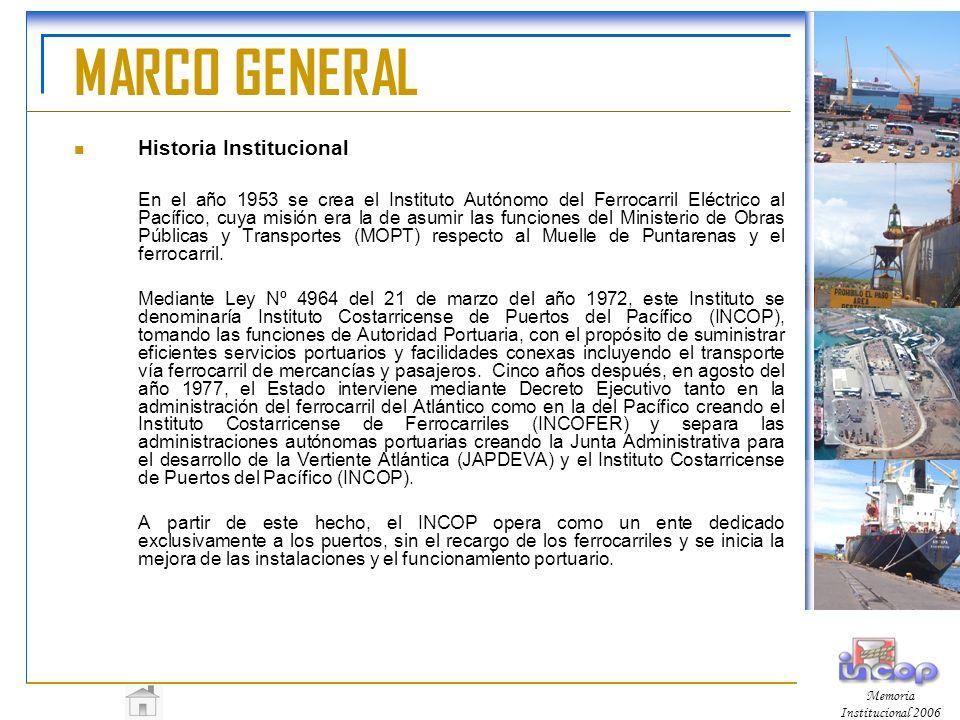 MARCO GENERAL Historia Institucional En el año 1953 se crea el Instituto Autónomo del Ferrocarril Eléctrico al Pacífico, cuya misión era la de asumir las funciones del Ministerio de Obras Públicas y Transportes (MOPT) respecto al Muelle de Puntarenas y el ferrocarril.