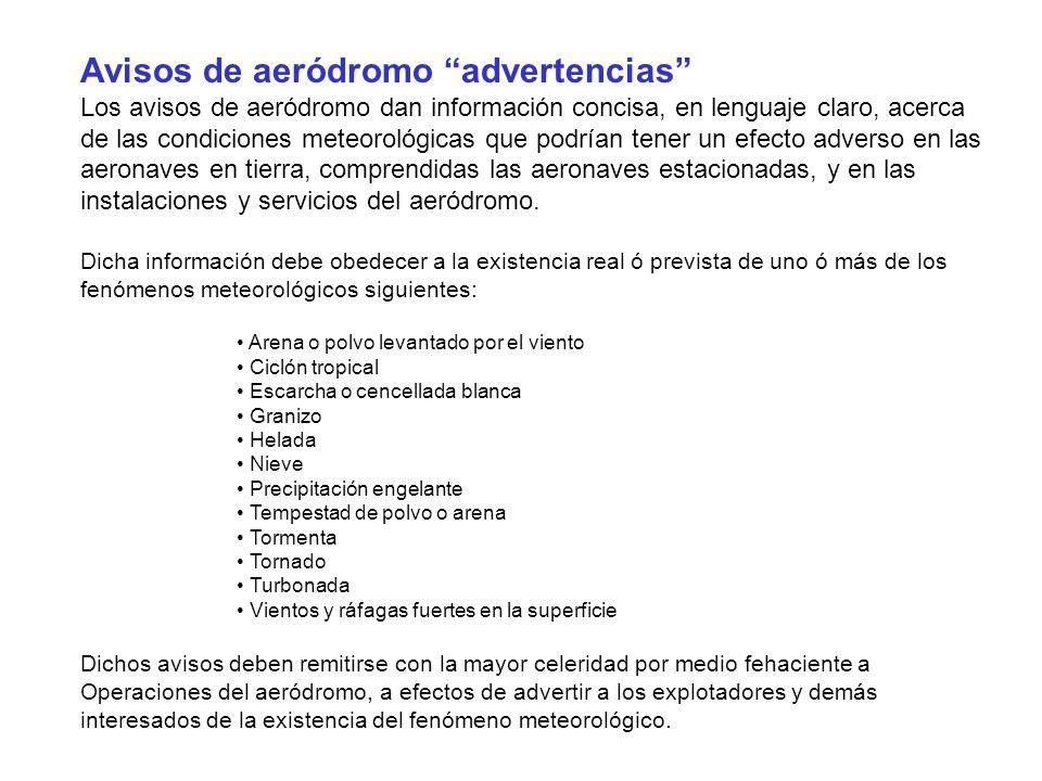 Avisos de aeródromo advertencias Los avisos de aeródromo dan información concisa, en lenguaje claro, acerca de las condiciones meteorológicas que podr