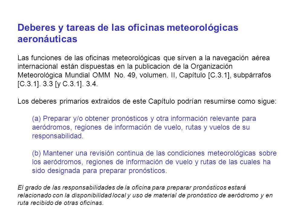 Accesos Internet seleccionados con información meteorológica aeronáutica Argentina - Servicio Meteorológico Nacional http://www.meteofa.mil.ar/ - Grupo de Pronóstico del Departamento de Ciencias de la Atmósfera y los Océanos (FCEyN-Universidad de Buenos Aires) http://cablemodem.fibertel.com.ar/gustfront/ Brasil - Força Aérea no Mato Grosso http://www.geocities.com/Pentagon/Barracks/4469/meteoro.html - Centro de Previsão de Tempo e Estudos Climáticos (CPTEC) http://www.cptec.inpe.br/ - INMET - Instituto Nacional de Meteorologia http://www.inmet.gov.br/