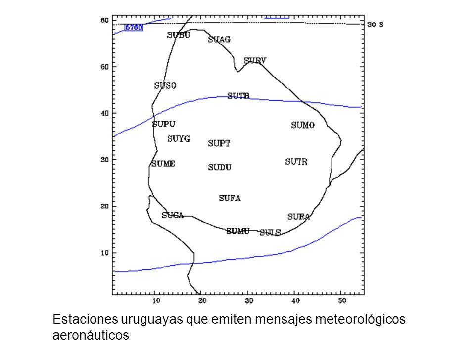 Estaciones uruguayas que emiten mensajes meteorológicos aeronáuticos