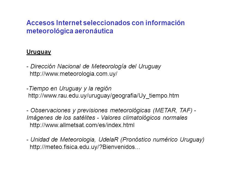 Accesos Internet seleccionados con información meteorológica aeronáutica Uruguay - Dirección Nacional de Meteorología del Uruguay http://www.meteorolo