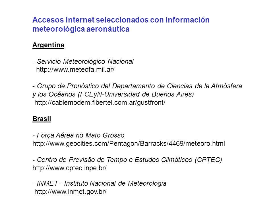 Accesos Internet seleccionados con información meteorológica aeronáutica Argentina - Servicio Meteorológico Nacional http://www.meteofa.mil.ar/ - Grup