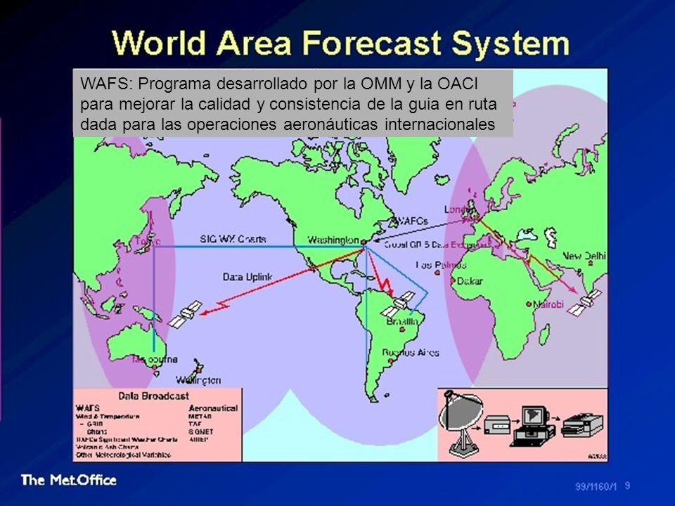 WAFS: Programa desarrollado por la OMM y la OACI para mejorar la calidad y consistencia de la guia en ruta dada para las operaciones aeronáuticas inte
