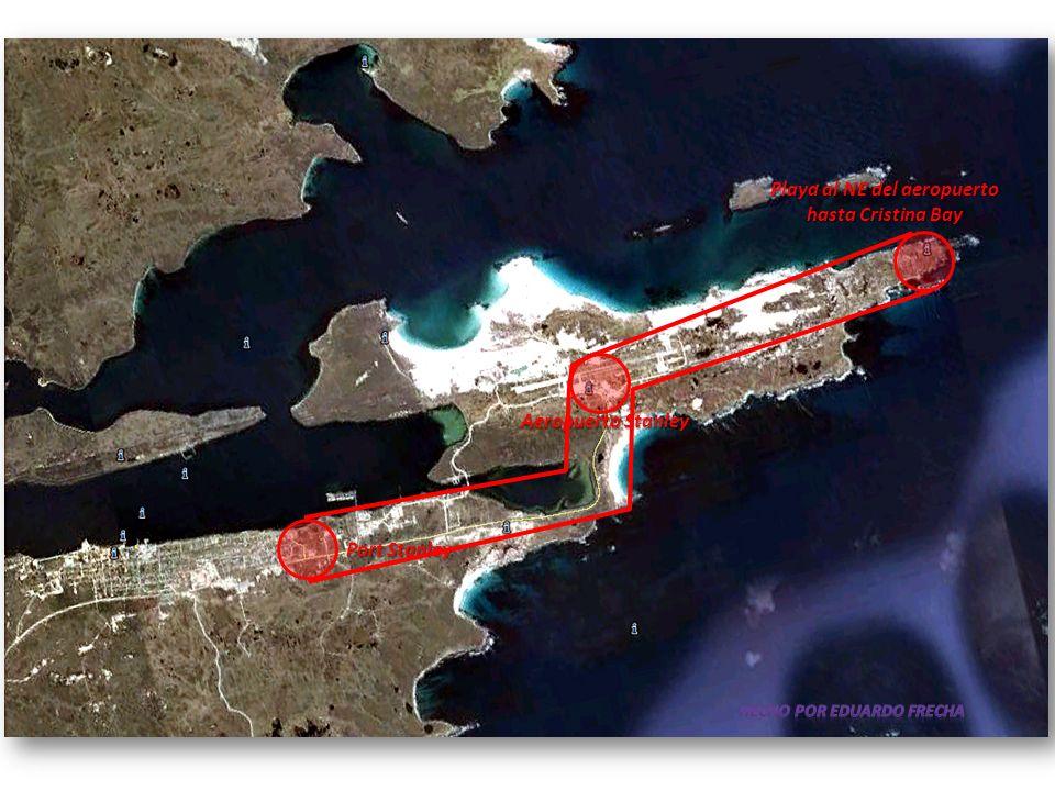 Playa al NE del aeropuerto hasta Cristina Bay Aeropuerto Stanley Port Stanley