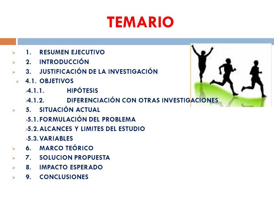 TEMARIO 1.RESUMEN EJECUTIVO 2.INTRODUCCIÓN 3.JUSTIFICACIÓN DE LA INVESTIGACIÓN 4.1.OBJETIVOS 4.1.1.HIPÓTESIS 4.1.2.DIFERENCIACIÓN CON OTRAS INVESTIGAC
