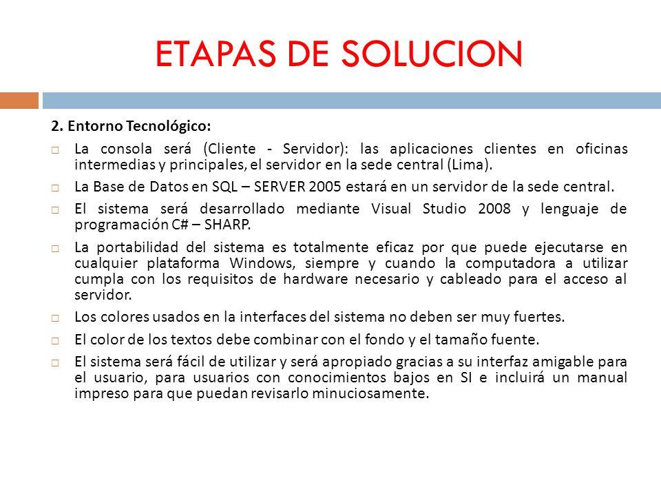 ETAPAS DE SOLUCION 2. Entorno Tecnológico: La consola será (Cliente - Servidor): las aplicaciones clientes en oficinas intermedias y principales, el s