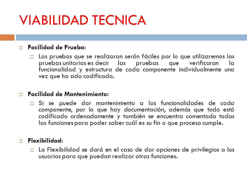 VIABILIDAD TECNICA Facilidad de Prueba: Las pruebas que se realizaran serán fáciles por lo que utilizaremos las pruebas unitarias es decir las pruebas