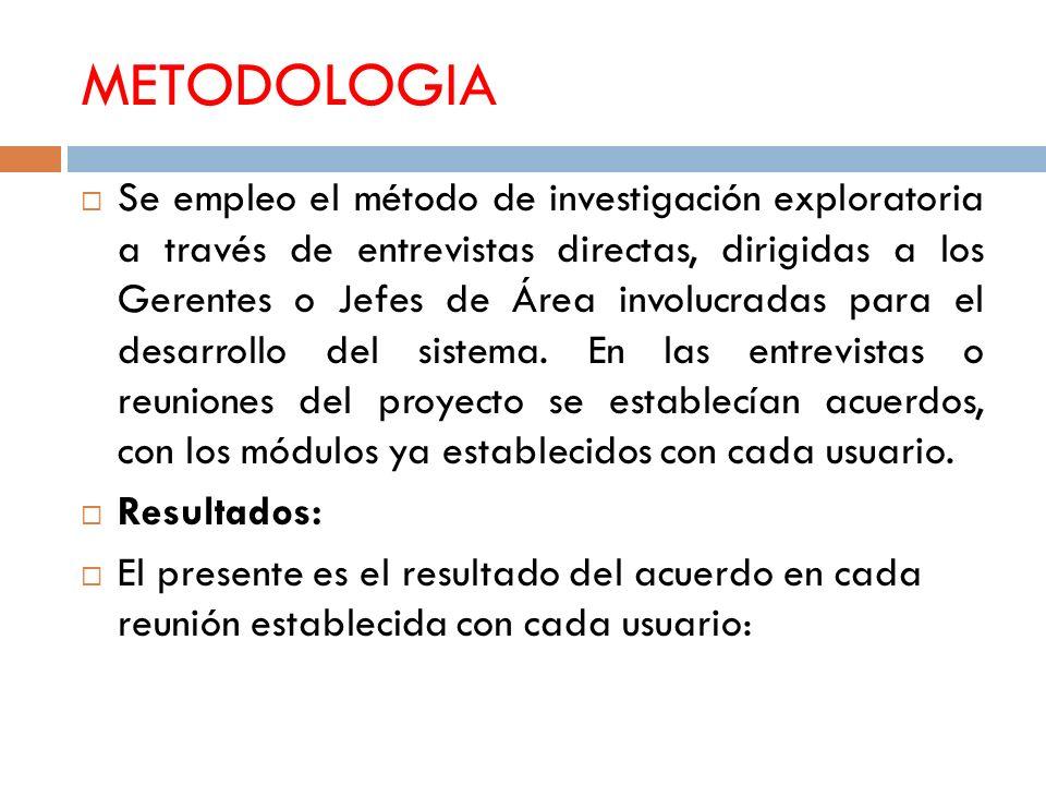 METODOLOGIA Se empleo el método de investigación exploratoria a través de entrevistas directas, dirigidas a los Gerentes o Jefes de Área involucradas