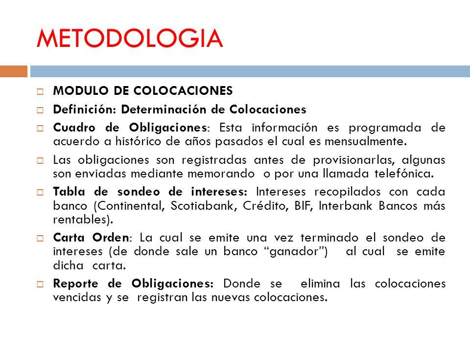 METODOLOGIA MODULO DE COLOCACIONES Definición: Determinación de Colocaciones Cuadro de Obligaciones: Esta información es programada de acuerdo a histó